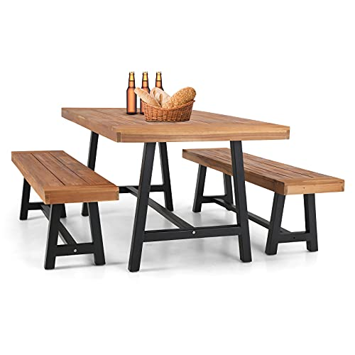 MFSTUDIO 3PCS Outdoor Patio Dining Table Set Acacia Wood with 1 Rectangular Picnic Wooden Table and 2 Benches for Backyard, Garden, Lawn,Teak Color