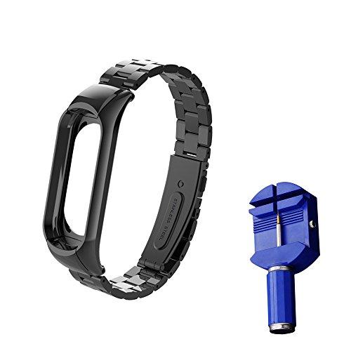 Wanfei Xiaomi Bracciale Mi Band 3 Strap, Xiaomi Mi Band 3 Cinturino da Polso sostitutivo, Metal Strap Wristband di Ricambio Strap Extendable Bracelet for Xiaomi Mi Band 3(No Tracker/No Host) (Nero)