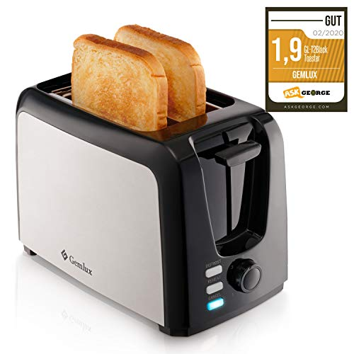 Gemlux Edelstahl Toaster 2 Scheiben – Toaster mit Breiten Schlitzen, 7 Bräunungsstufen mit Brot Auftauen, Aufwärmen und Abbrechen Funktionen, Herausnehmbares Krümelfach, Silber/Schwarz, GL-T2BLACK