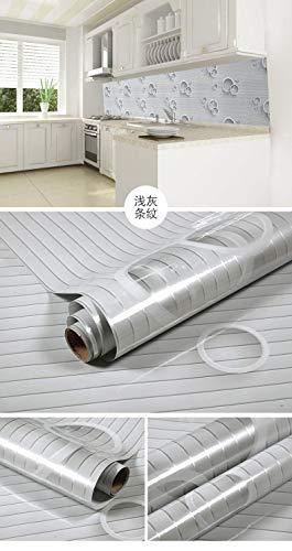 Küche Herd Anti-öl-aufkleber, Hochtemperatur-haushalt Aluminiumfolie Aufkleber, Wasserdichte Anti-öl-rauch Maschine Fliesen Tapete Hellgraue Streifen