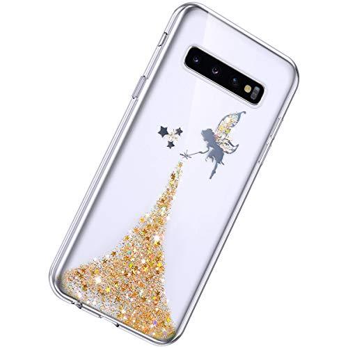 Herbests Kompatibel mit Samsung Galaxy S10 Hülle Glänzend Glitter Bling Glitzer Kristall Sterne Engel Mädchen Durchsichtig TPU Silikon Handyhülle Crystal Case Dünn Bumper Tasche Etui,Gelb