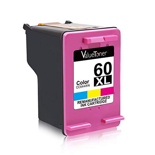 Valuetoner Remanufactured    Ink Cartridge Replacement for HP 60XL 60 XL High Yield D8J61BN CC641WN CC644WN (1 Black, 1 Tri-Color) 2 Pack for Photosmart C4680 D110, Deskjet D2680 F2430 F4210 Printer
