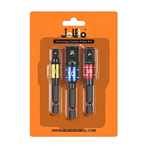 JelBo Adattatore per bussola per avvitatore a percussione, cacciavite quadrato con codolo esagonale da 1/4