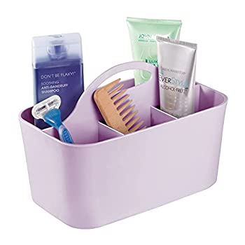 mDesign Plastic Portable Storage Organizer Caddy Tote - Divided Basket Bin Handle for Bathroom Dorm Room - Holds Hand Soap Body Wash Shampoo Conditioner Lotion - Small - Light Purple