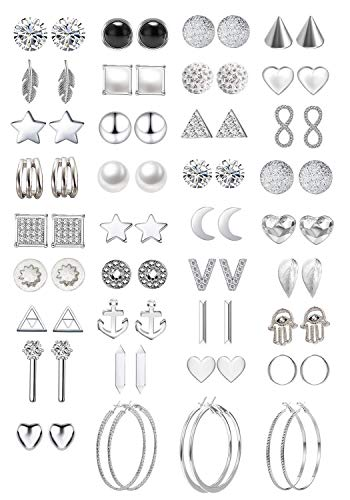 36 Pairs Assorted Multiple Stud Earrings Jewelry set With Card for Women Girls Simple Hoop earring set