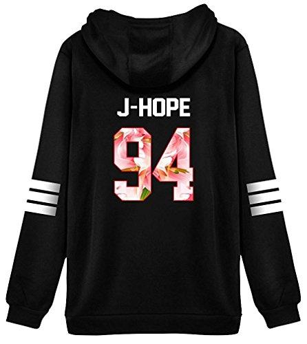 ShallGood Mujer Otoño Moda Tops Bangtan Fans Sudaderas con Capucha Manga Larga Suéter Capa Hoodies Pullover Outwear Encapuchado Tops J-HOPE-94 Pink ES 38
