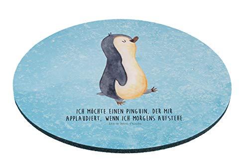 Mr. & Mrs. Panda Mousepad, Maus, Rund Mauspad Pinguin marschierend mit Spruch - Farbe Eisblau