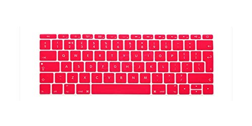 for Mac New Pro 13' A1708 (2016 Version No Touch Bar) EU/UK English Silicone Keyboard Cover Skin and for Macbook 12' A1534-Pink