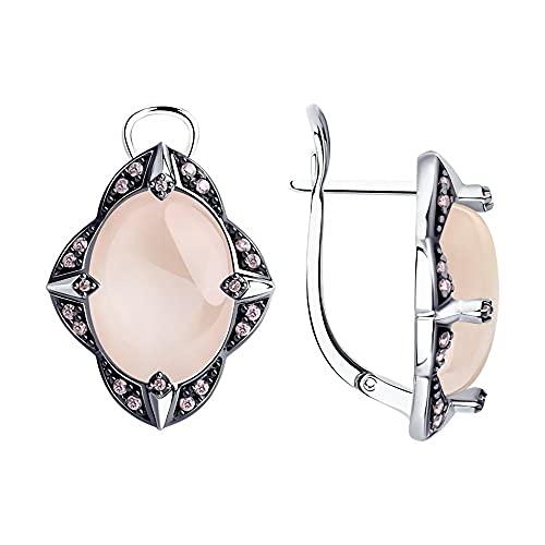 Mirkada - Pendientes de plata para mujer, con cuarzo y circonita, color rosa