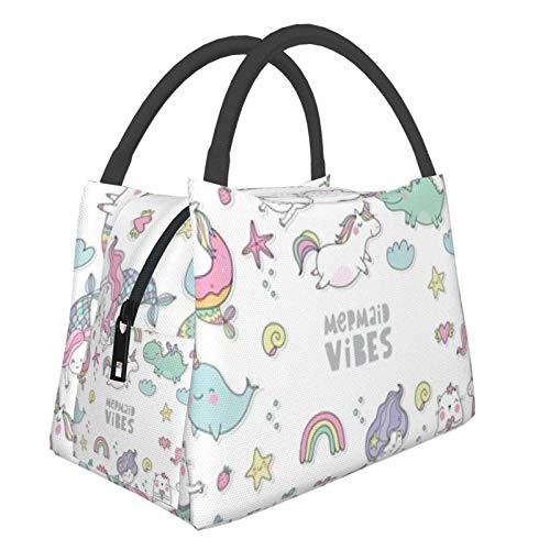 Bolsa de almuerzo portátil con aislamiento Cool (Unicornio mágico lindo gato sirena) 8.5L