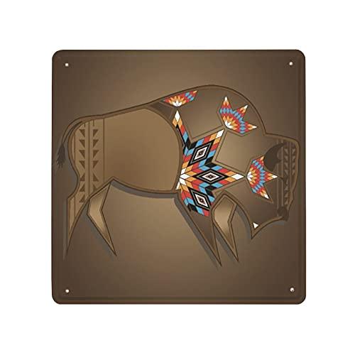 NANITHG Cartel de chapa retro de metal,Animal Búfalo Nativo americano Toro Cabeza de vaca Cuerno Indio,Cartello in metallo con motivo decorativo da parete 30*30cm