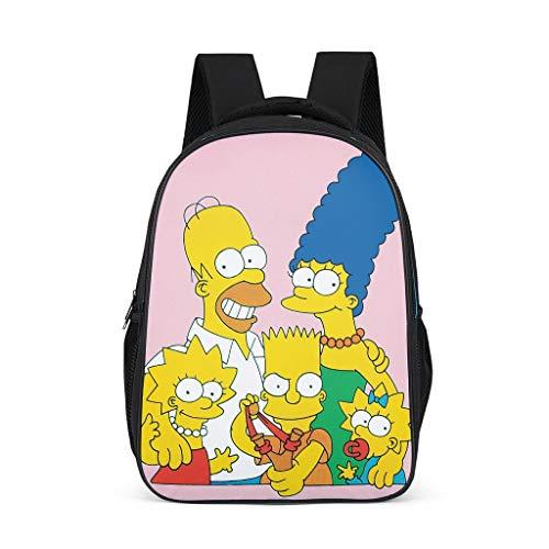 Unisex - Kinder The Simpsons Schultasche Rucksäcke Kinderrucksack Cartoon Familie Rosa Drucken Backpack Reisetaschen für Kinder Junge und Mädchens 3-12 Grey OneSize