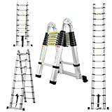 Schiebeleitern Mehrzweckleiter Teleskopleiter Klappleiter A-Rahmen ausziehbare 5m (2,5m+2,5m) Leiter...