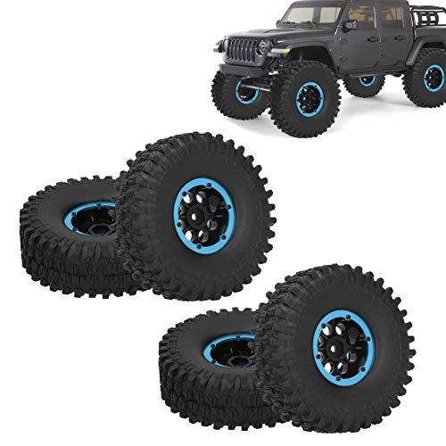 RC Autoreifen 4 Stück 1,9 Zoll Gummi RC Crawler Reifen Gummireifen Rad Reifen für Fernbedienung RC Car SCX10 TRX4(Blau)