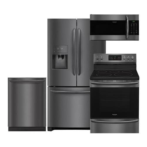 Frigidaire Black Stainless Steel Kitchen Package with FGHB2868TD 36 French Door Refrigerator, FGEF3036TD 30 Electric Range, FGID2466QD 24 Dishwasher and FGMV176NTD 30 Microwave