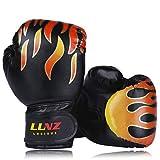 Luniquz Gant de Boxe Enfant 3-14 Ans en Cuir Gant d'Entraînement de Boxe 4OZ 6OZ pour MMA Muay Thai Kickboxing Sac de Frappe