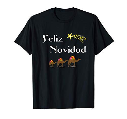 Diseño Navideño Con Regalos Reyes Magos Feliz Navidad Camiseta