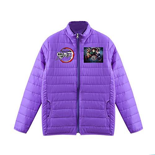 Bowfkgjk Demon Slayer Daunenjacken Ultraleichter Daunenmantel Geeignet for Männer und Frauen halten warm im Winter Jacke Printing Cardigan Coat (Color : Purple01, Size : Height-185cm(Tag XXL))