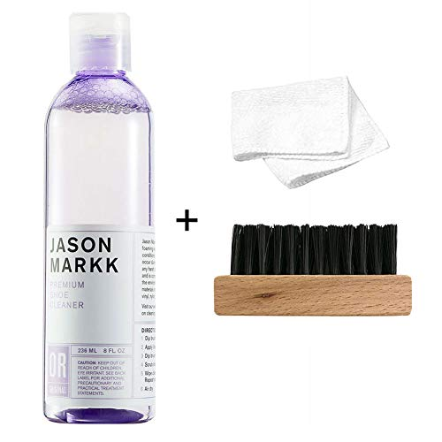 Jason Markk Unisex 8oz Premium Shoe Cleaner + Generic Shoe Brush and Cloth (Kit)