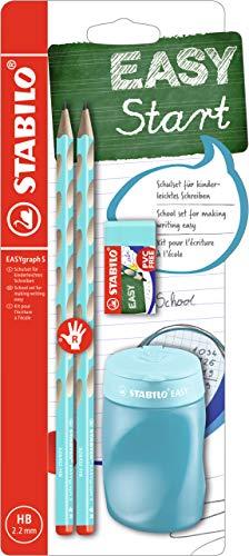Schul-Set für Rechtshänder - STABILO EASYgraph S in blau - inklusive Spitzer + Radierer
