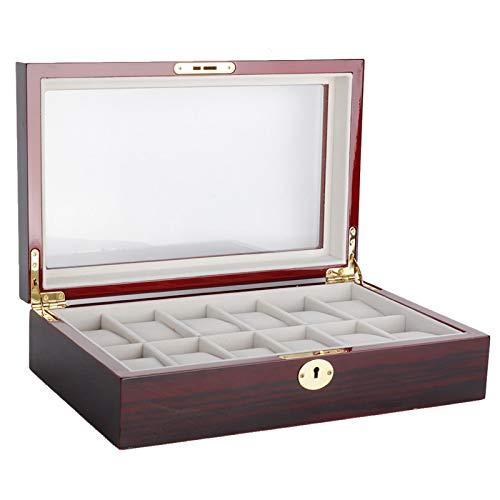 Con caja de almacenamiento de madera con cerradura de hardware de alta calidad, 12 ranuras, organice herramientas, proteja los relojes del polvo y los arañazos