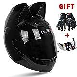 Wwtoukui Casco da Motociclista Cool Cat Ear, Casco da Moto E Moto Creativo per Uomo E Donna, Casco Standard ECE/DOT, Specchio Trasparente E Guanti,L