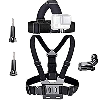 VVHOOY Universal Head Strap Mount Chest Strap Harness and Screw Adapter Compatible with Dragon Touch 4K,AKASO EK7000,Brave 4,Runme R3,VanTop,APEMAN A79 A80,Crosstour,Campark Action Camera Accessories by VVHOOY
