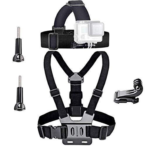 VVHOOY Universal Head Strap Mount Chest Strap Harness and Screw Adapter Compatible with Dragon Touch 4K,AKASO EK7000,Brave 4,Runme R3,VanTop,APEMAN A79 A80,Crosstour,Campark Action Camera Accessories