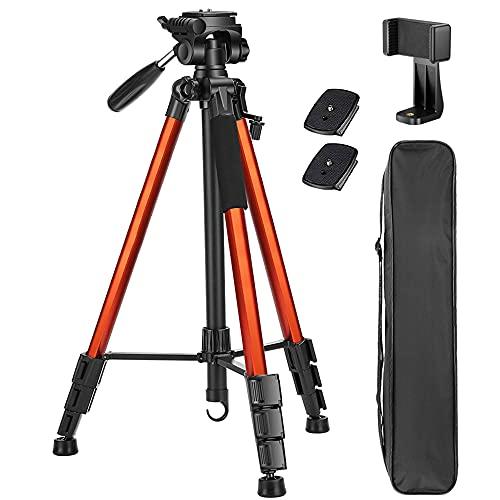 Victiv 182 cm Aluminium Kamera Stativ, Leichtes und Kompaktes Reisestativ für DSLR mit 3-Wege-Schwenk 360° Panorama Kugelkopf und Telefonhalter, kann für YouTube, Vlog und Videokonferenzen-Orange