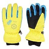 TRIWONDER Thermal Fleece Skihandschuhe Snowboard Handschuhe wasserdichte warme Winterhandschuhe für Kinder (gelb, M (9-12 Jahre))