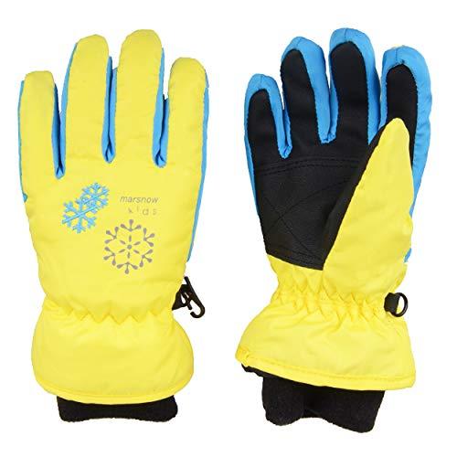 TRIWONDER Thermal Fleece Skihandschuhe Snowboard Handschuhe wasserdichte warme Winterhandschuhe für Kinder (gelb, S (6-8 Jahre))