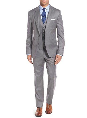 Salvatore Exte Men's 3-piece Suit Set Two Button Blazer Jacket Pants Tux Vest (46 Regular US / 56R EU / W 40″, Gray)
