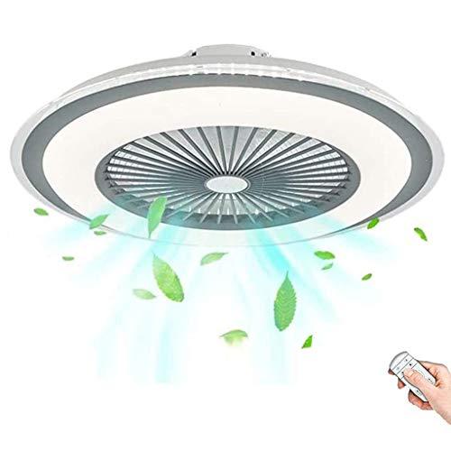 Ventilador De Techo Con Luz Led Velocidad Del Viento Ajustable Regulable Control Remoto 80W Moderna Fan Lámpara De Techo Decoración Iluminación Para Dormitorio Sala Comedor Cocina Oficina (Grey)