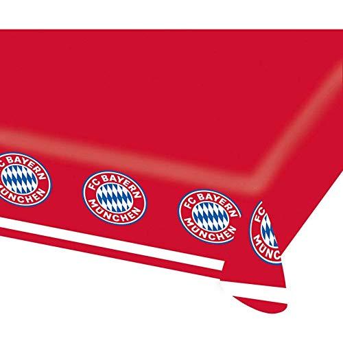 Amscan 9906511 - FC Bayern München Tischdecke, 1 Stück, Größe 120 x 180 cm, Farbe: Blau, Weiß u. Rot, aus Papier, perfekt für die Fan- oder Fußballparty, Festtafel, Dekoration, Rekordmeister, Logo