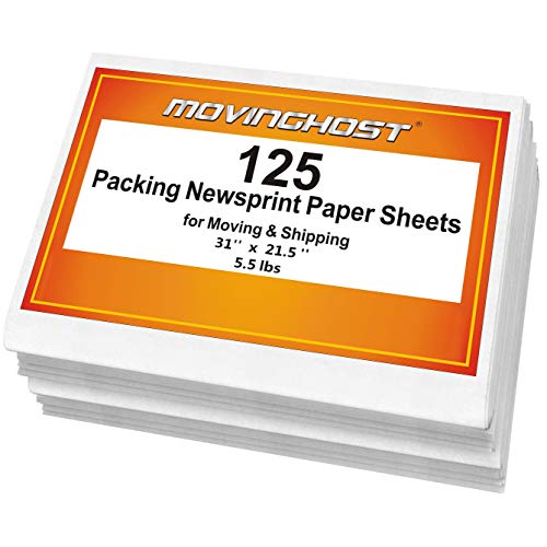 125 Newspaper Packing Paper Sheets for Moving - 5.5 Lbs - Recyclable Acid Supplies Material - Smelless Smooth Wrapping Packaging Paper