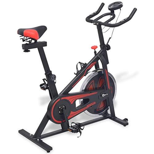 Ausla Bicicleta estática de entrenamiento con monitor LCD, asiento y manillar ajustables y controles de resistencia de varios niveles, máximo 100 kg, con sensores de pulso