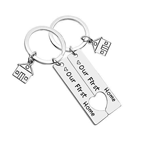 Our First Home Keychains New House Keychain New Home Keychain House Keyrings 2020 Housewarming Gift New Home Owners Jewelry from Real Estate Agent (New Home(2 Packs))