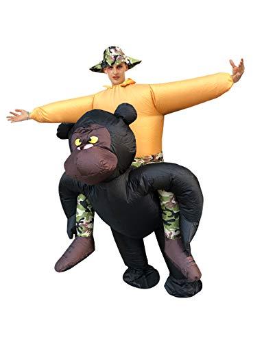 Leezeshaw Aufblasbarer Affe Gorilla Kostüm für Erwachsene, aufblasbarer schwarzer Schimpansenaffe, aufblasbar, Party, Halloween, Cosplay Kostüm