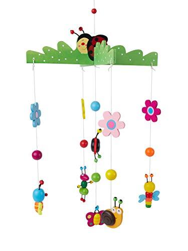 Bieco 3D Baby Mobile Käferchen aus robustem Holz, Viele bunte Tiere und Blumen, Blickfang am Babybett, Kinderbett, Wickeltisch oder am Spielbogen. Für Babys ab 0 Monaten