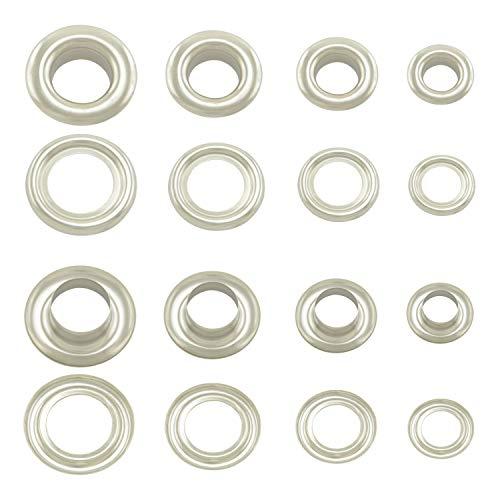 GETMORE Parts Ösen mit Gegenscheiben, Messing-Ösen, Metallöse, Rundöse mit Scheibe, Messing, rostfrei - 100 Stück, Silber, 5 mm