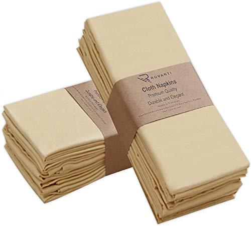 Ruvanti Kitchen Cloth Napkins 12 Pack (18'X18') Dinner Napkins Soft and Comfortable, Reusable Napkins - Durable Linen Napkins - Perfect Table Napkins/Ivory Gold Napkins for Family Dinners, Weddings