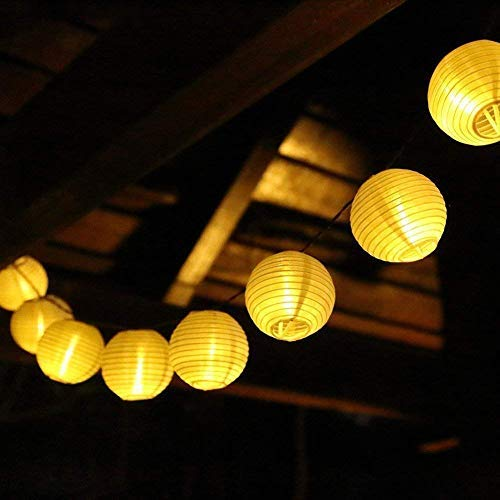 SALCAR 10m LED Lampion Lichterkette Außen, 40er LED Lichterketten Gartenlaterne Deko + 3m 31V Sicherheitsnetzteil, 8 Beleuchtungsmodi - Warmweiß