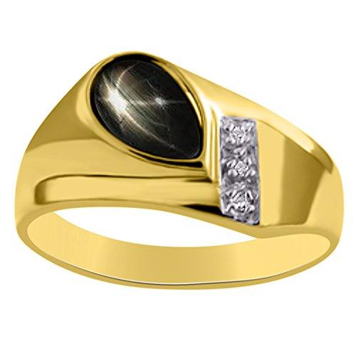 Diamond y negro Star Sapphire anillo plata de ley o plata chapado en oro amarillo