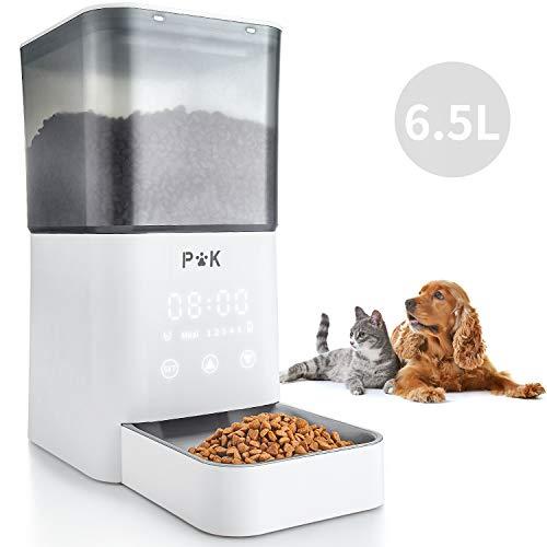 Puppy Kitty Automatischer Futterspender für Katze und Hund, 6.5L Touchscreen Futterautomat mit Großem Durchsichtigem Futtereimer & Edelstahlnäpfe, 1 bis 5 Mahlzeiten am Tag, Ton-Aufnahmefunktion