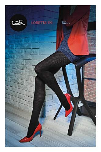 Gatta panty 50den (861-119) - ondoorzichtige panty zwart met stippen fantasiepatroon - ontworpen & Made in EU