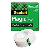 Scotch Magic Cinta Adhesiva Invisible - 1 Rollo de 19mm x 33m - Cinta Adhesiva de Uso General para Reparación, Etiquetado y Sellado de Paquetes y Documentos