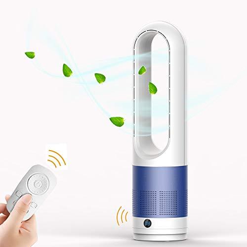 EZSMART Ventilador sin aspas, 60CM 80° oscilante Ventilador de torre control remoto, 8H-Timer, 8 niveles de ventilación, Ventilador de pedestal silencioso y táctil para dormitorio de oficina (Azul)