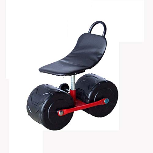 Zuoao Garden Cart Rolling Scooter with Seat, Planting Picking Stool Comfortable PU Sponge Seat Pad Moving Chair with Wheels Garden Supplies,Black