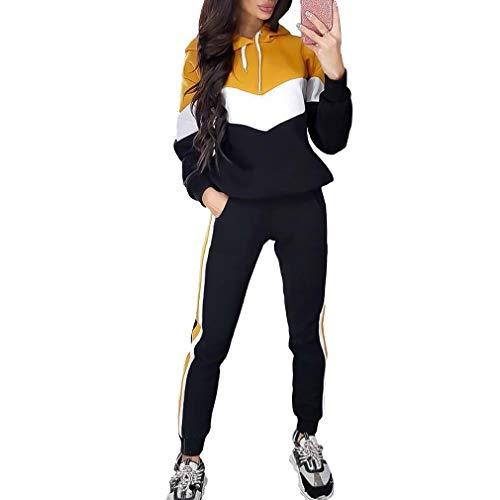 Conjunto de Dos Piezas para Mujer Raya Colorblock Trajes de Chándal Sudadera con Capucha de Manga Larga Sudadera y Pantalones Largos Joggers Suit Lounge Sweatsuit