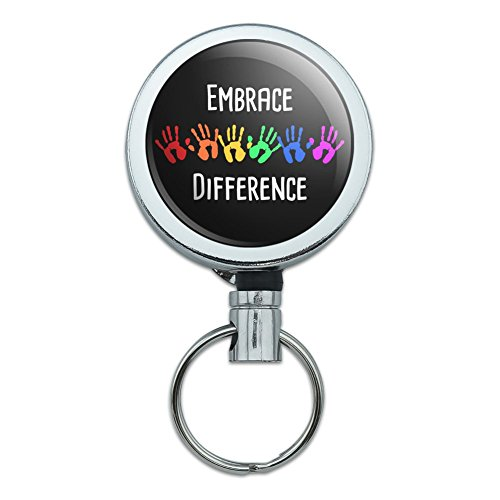 Embrace Difference Autism Hand Prints Heavy Duty Metal Retractable Reel ID Badge Key Card Tag Holder with Belt Clip